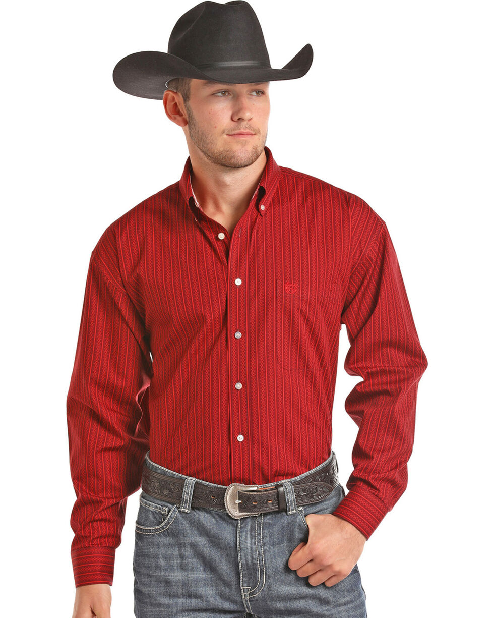 Panhandle Men's Red Striped Print Western Shirt , Red, hi-res
