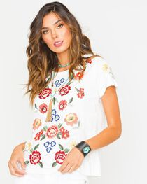Miss Me Women's Ivory Embroidered Short Sleeve Shirt, , hi-res