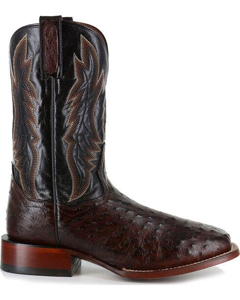 Dan Post Men's Ostrich Brown Square Toe Exotic Boots, Brown, hi-res