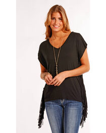 Panhandle Women's Black Side Fringe Tunic , , hi-res
