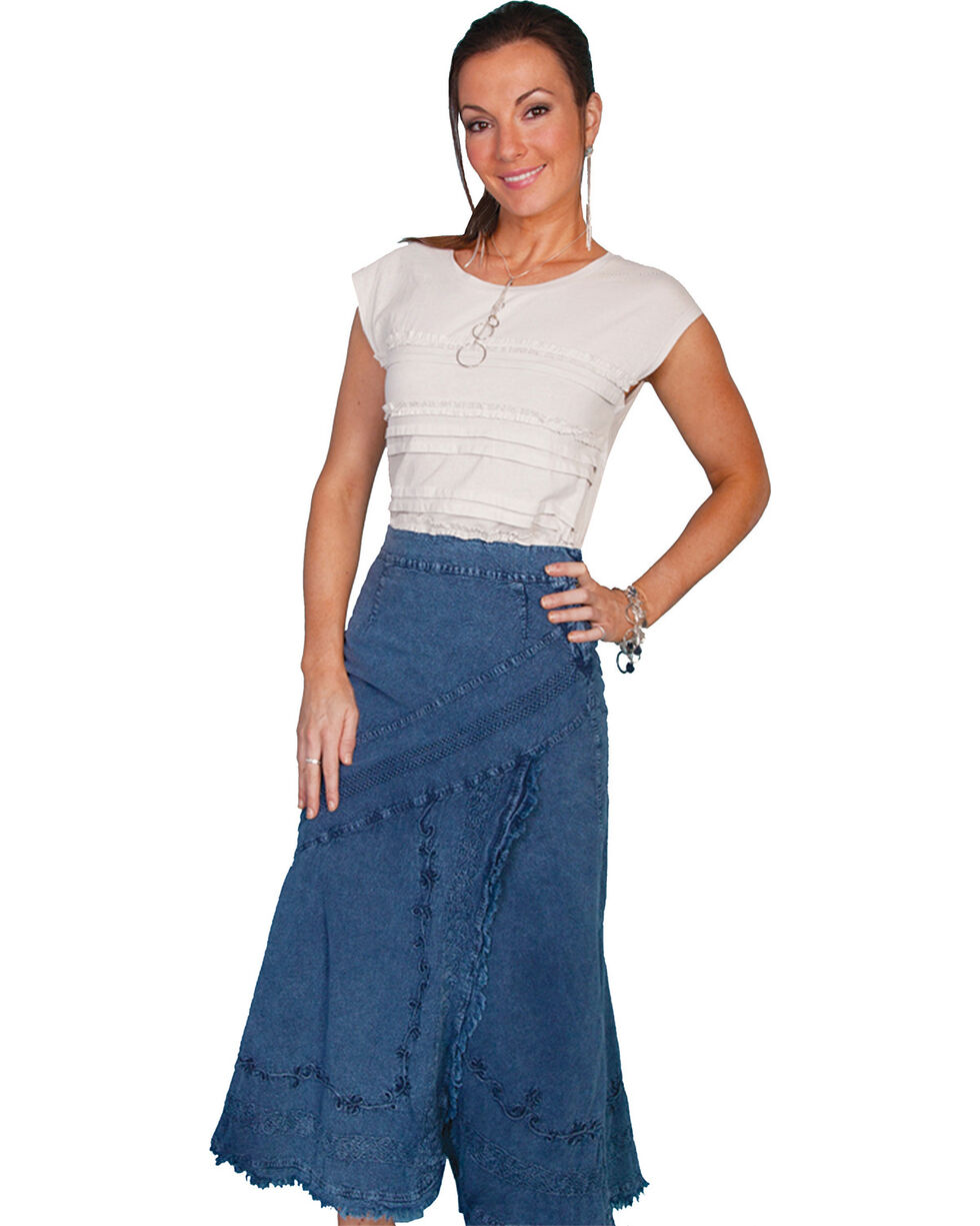 Scully Women's Soutache Skirt, Dark Blue, hi-res