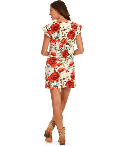 Ces Femme Red Poppy Print Cap Sleeve Dress , Red, hi-res