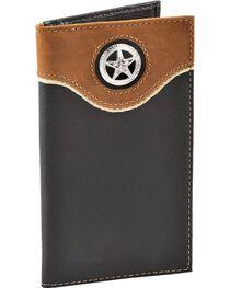 Nocona Star Concho Black Leather Checkbook Wallet, , hi-res