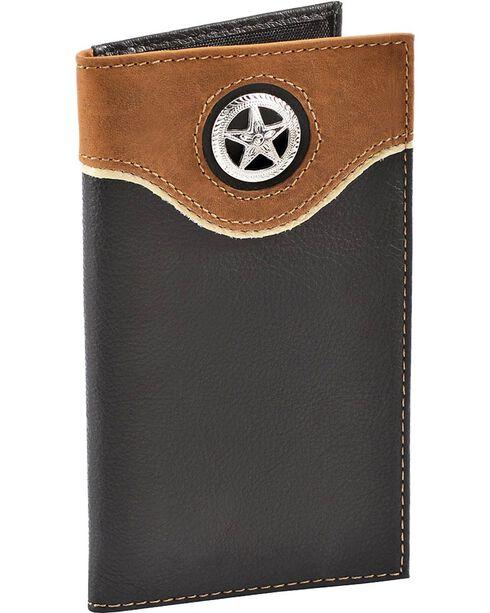 Nocona Star Concho Black Leather Checkbook Wallet, Black, hi-res
