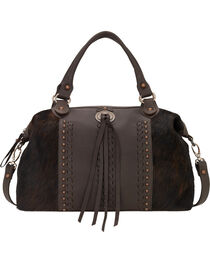 American West Women's Cow Town Zip Top Satchel, Chocolate, hi-res
