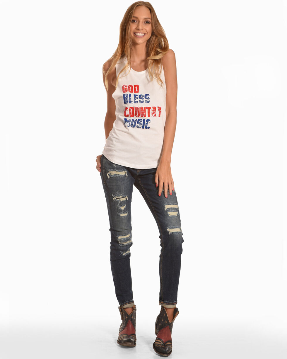 Ali Dee Women's God Bless Country Music Tank Top, White, hi-res