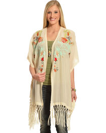 Johnny Was Women's Pearl Argent Fringe Kimono  , , hi-res