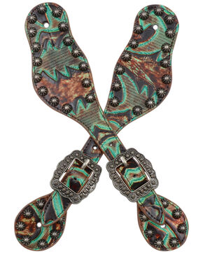 3D Women's Turquoise & Brown Embossed Spur Straps, Brown, hi-res