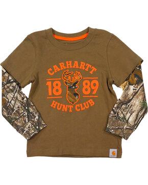 Carhartt Toddler Boys' Hunt Club Long Sleeve Tee, Brown, hi-res