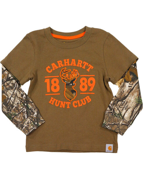 Carhartt Toddler Boys' Hunt Club Long Sleeve Tee, Brown, hi-res