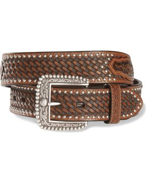 Ariat Men's Tooled Leather Belt, Brown, hi-res