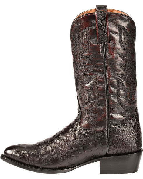 Dan Post Men's Quilled Ostrich Western Boots, Black Cherry, hi-res