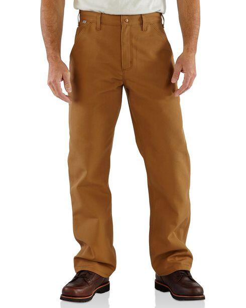 Carhartt Flame Resistant Duck Work Dungaree Pants - Big & Tall, Brown, hi-res