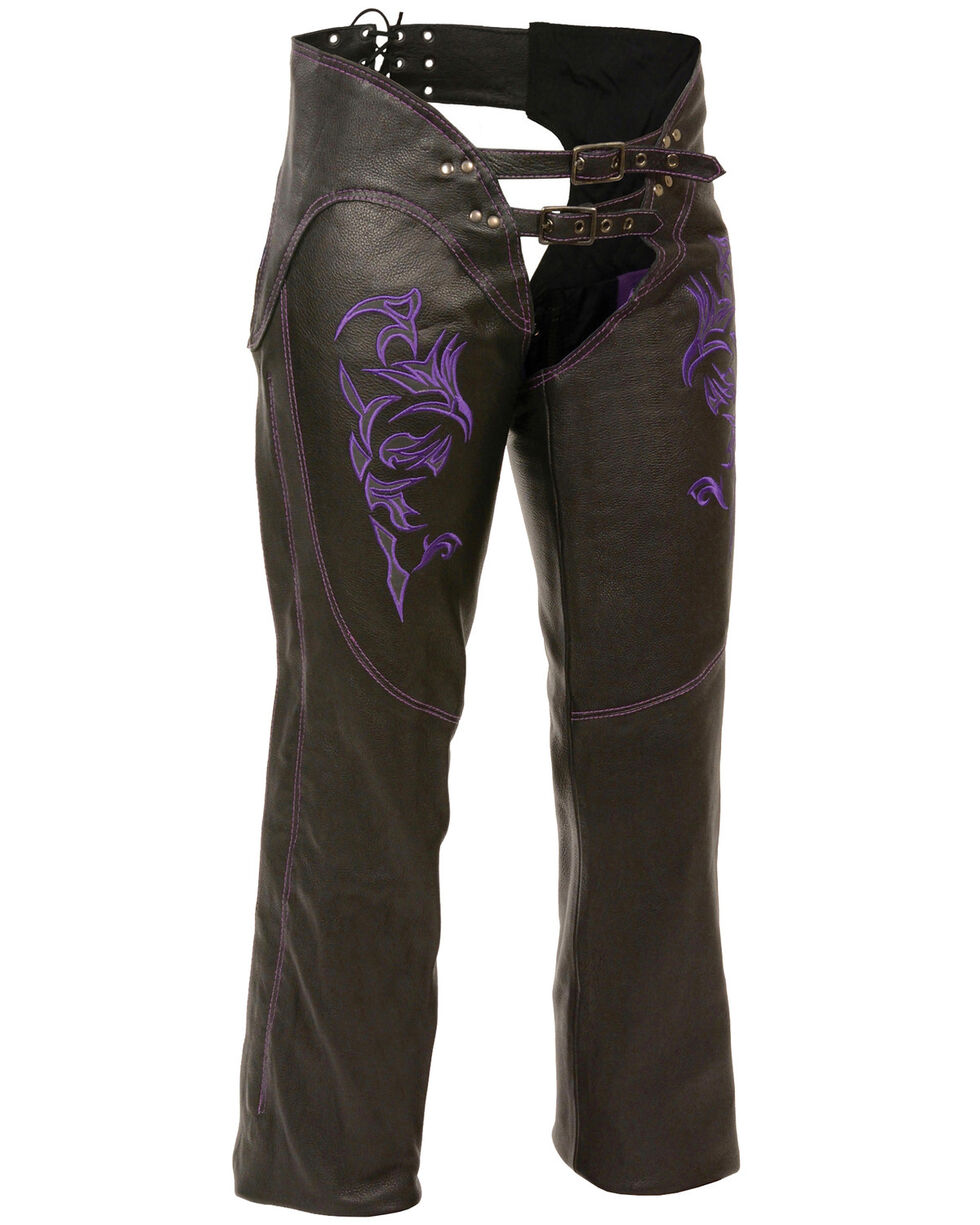 Milwaukee Leather Women's Reflective Tribal Embroidered Chaps, Black/purple, hi-res