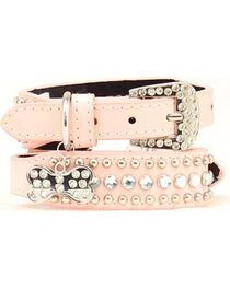 Blazin Roxx Blush Studs & Stones Dog Collar - S-XL, , hi-res