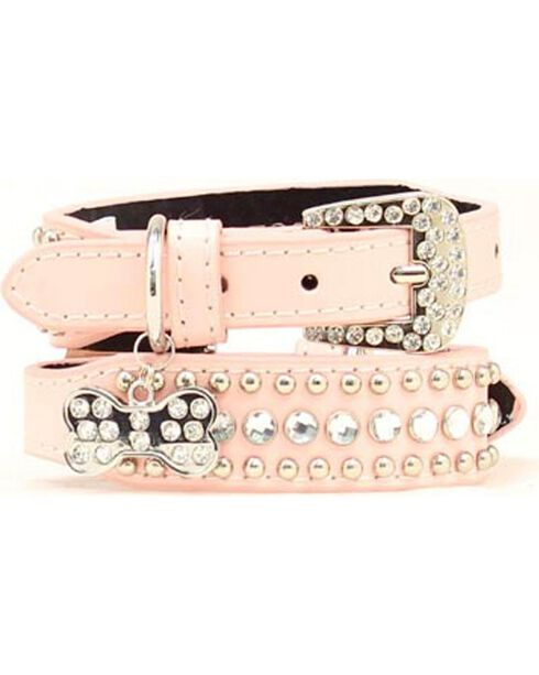 Blazin Roxx Blush Studs & Stones Dog Collar - S-XL, Pink, hi-res
