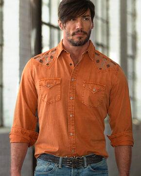 Ryan Michael Men's Silk Gabardine Shirt, Orange, hi-res