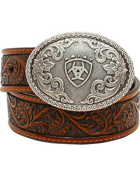 Ariat Boys Range Tooled Belt, Tan, hi-res