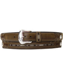 Nocona Men's Rough-Out and Overlay Western Belt, , hi-res