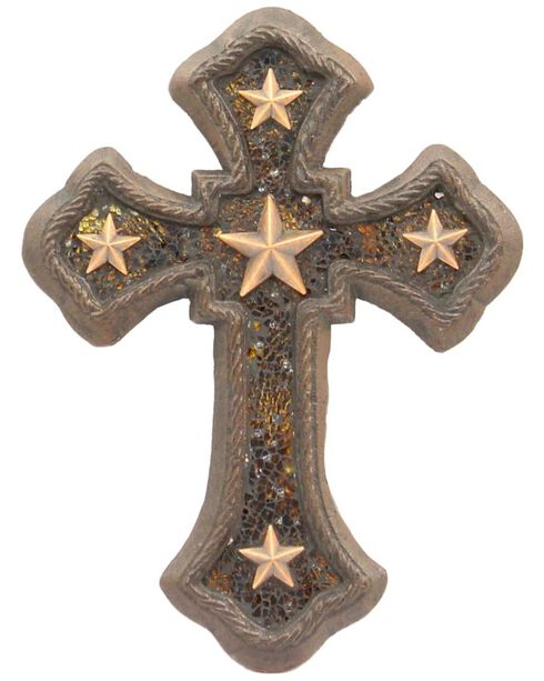 Western Moments Cast Iron Amber Star Wall Cross, Brown, hi-res