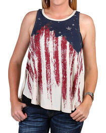 Others Follow Women's Distressed American Flag Tank, , hi-res