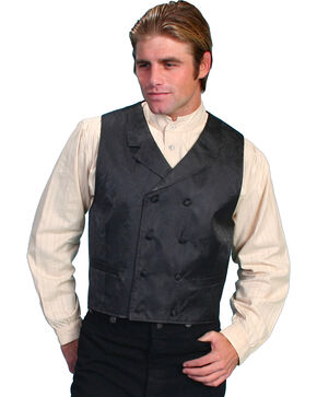 Rangewear by Scully Paisley Print Double Breasted Vest - Big & Tall, Black, hi-res