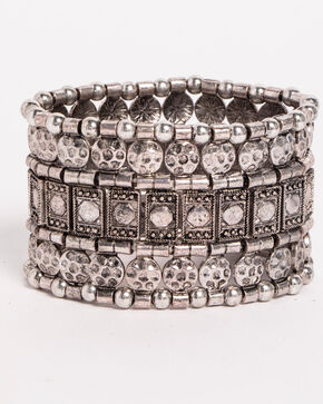 Shyanne® Women's Mixed Pattern Stretch Bracelet, Silver, hi-res