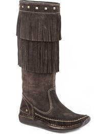Roper Women's Brown Fiona Tall Moccasin Boots - Moc Toe , , hi-res