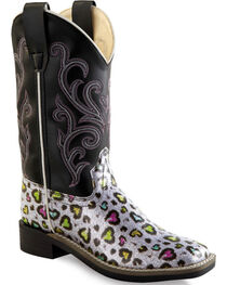 Old West Girls' Multi-Color Heart Western Boots - Square Toe, , hi-res