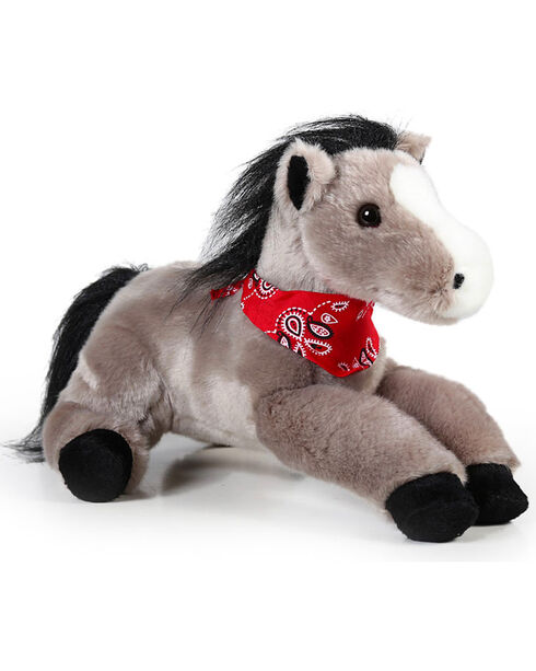 Lil' Boot Barn Flopsie Bandana Stuffed Horse, Grey, hi-res