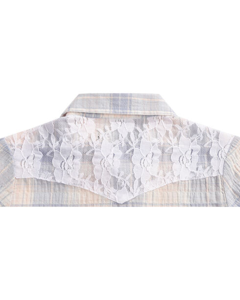 Shyanne Girls' Plaid Lace Overlay Long Sleeve Shirt, Pink, hi-res