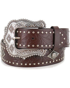 Shyanne® Women's Filigree and Stud Leather Belt , Brown, hi-res