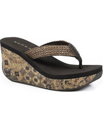 Roper Women's Brown Cork Wedge Sandals , , hi-res