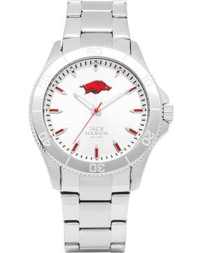 Jack Mason University of Arkansas Men's Silver Dial Sport Bracelet Watch , Silver, hi-res