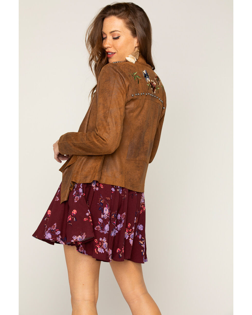 Shyanne® Women's Embroidered Jacket, Taupe, hi-res