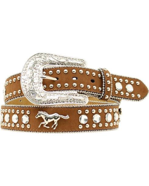 Blazin Roxx Running Horse Concho Studded Belt, Med Brown, hi-res