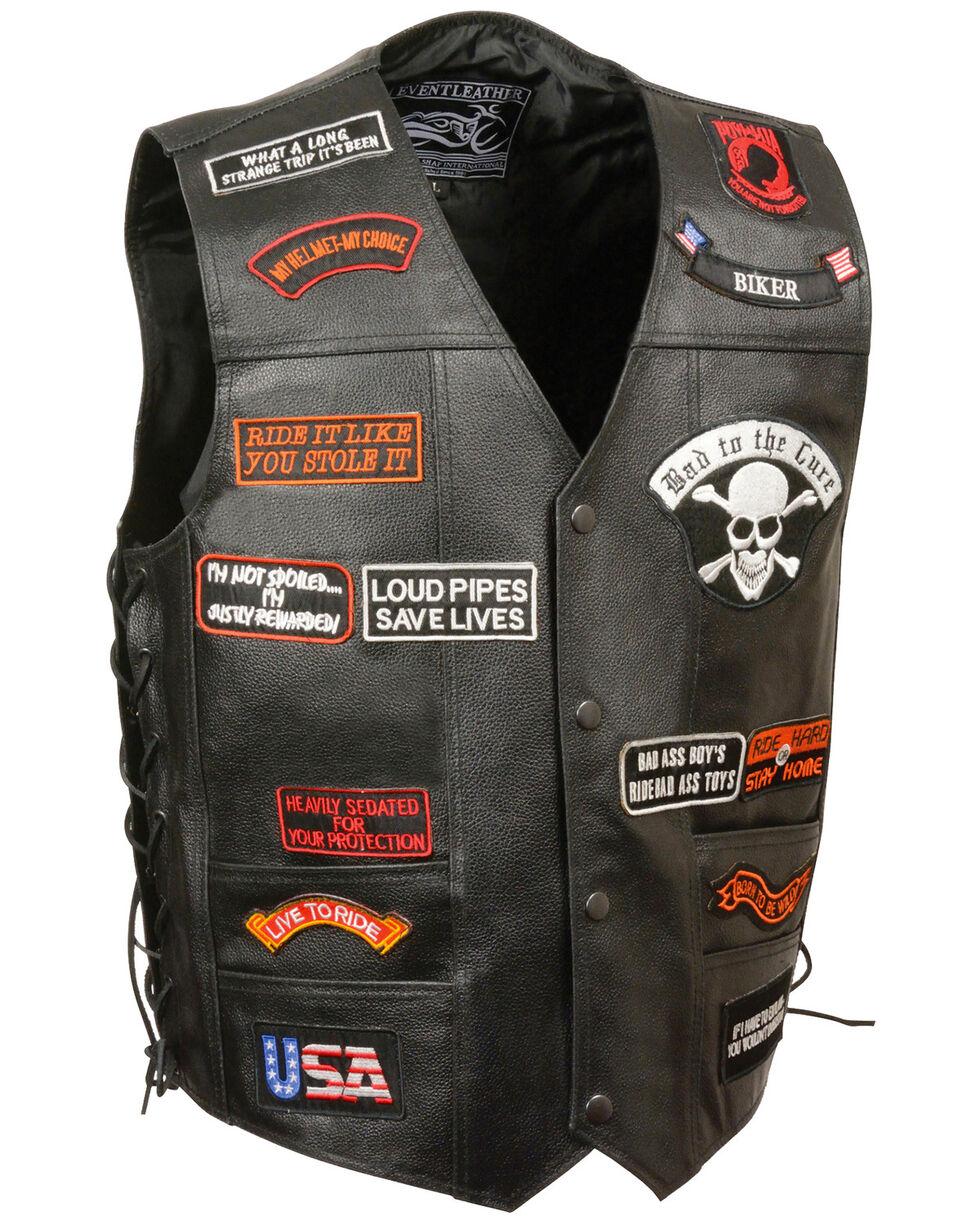 Milwaukee Leather Men's Side Lace Patch Vest, Black, hi-res