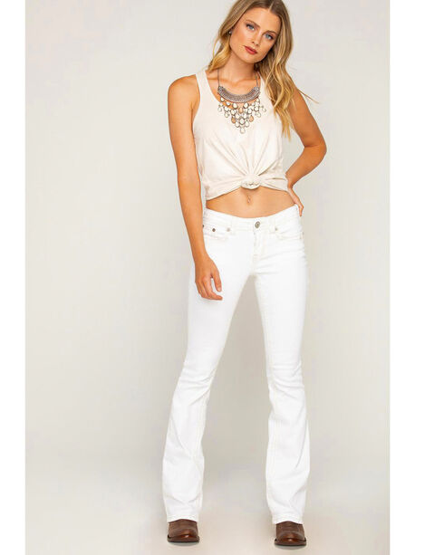 Shyanne Women's White Embroidered Jeans - Boot Cut, White, hi-res