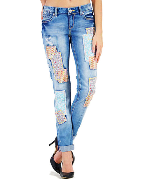 Grace in LA Women's Patched Skinny Jeans, Indigo, hi-res