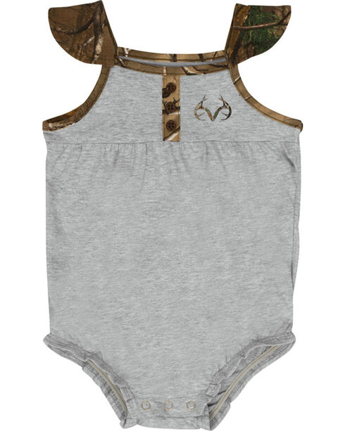 Real Tree®  Infant Girl's Camo Short Sleeve Onesie , Grey, hi-res