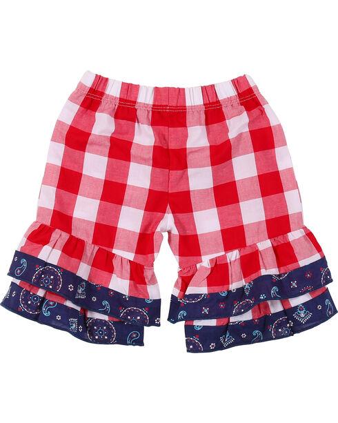 Wrangler Toddler Girls' Red Check Elastic Waist Pant, Red, hi-res