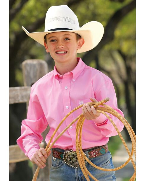 Cinch ® Boys' Light Pink Long Sleeve Shirt, Pink, hi-res
