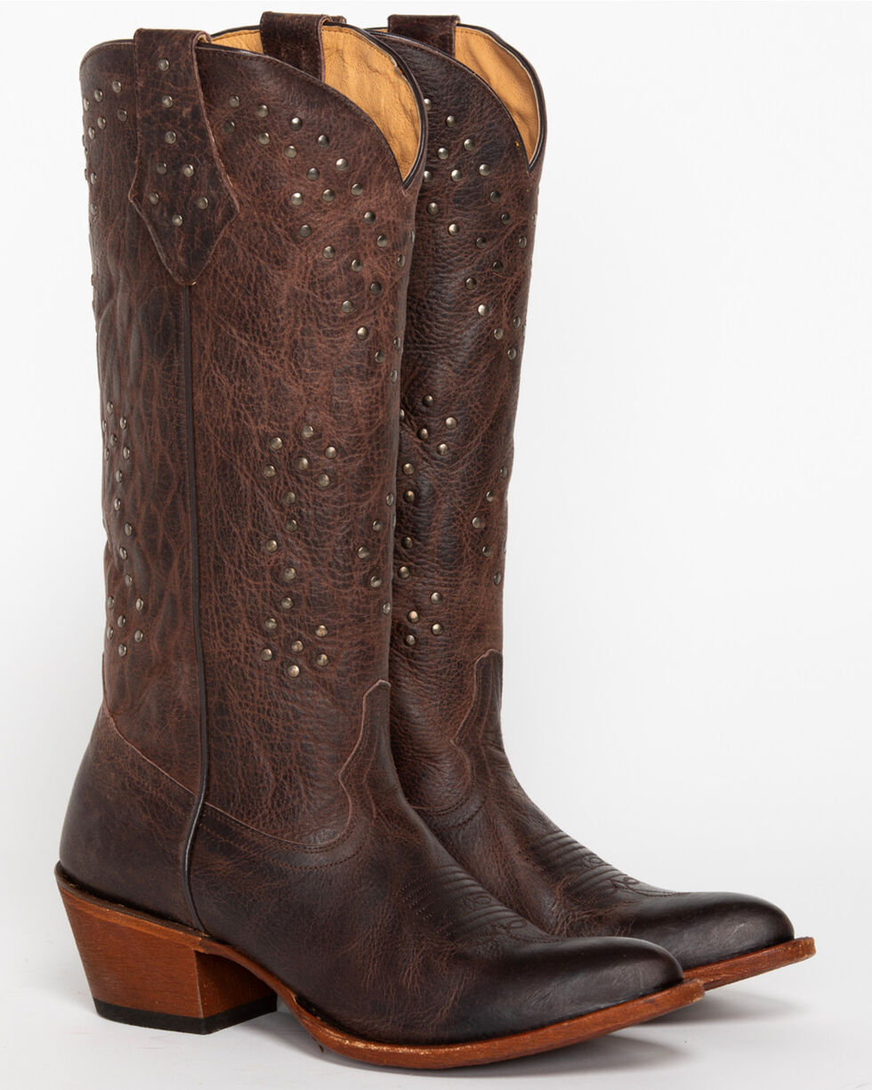 Shyanne® Women's Tall Studded Almond Toe Western Boots, Brown, hi-res