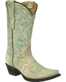 Corral Girls' Embroidered Turquoise Cowgirl Boots - Snip Toe, Turquoise, hi-res