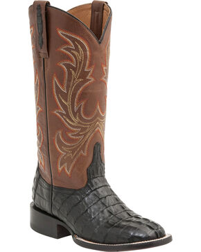 Lucchese Women's Lexie Exotic Caiman Western Boots, Black, hi-res