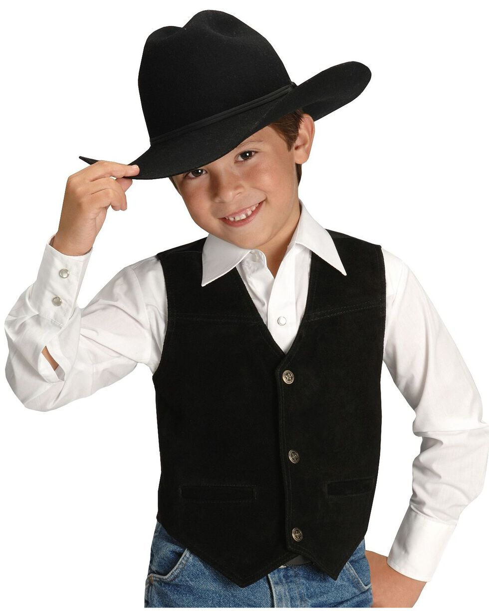 Roper Boys' Western Suede Vest - 7-12, Black, hi-res