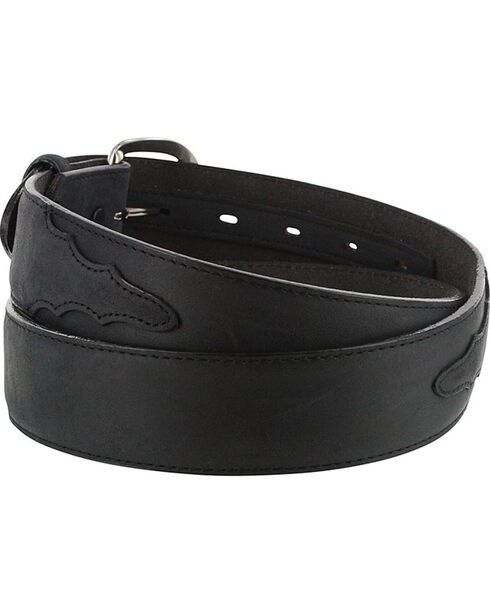 Cody James Men's Black Leather Overlay Belt, Black, hi-res