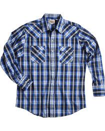 Ely Cattleman Men's Blue Texture Snap Plaid Shirt, , hi-res