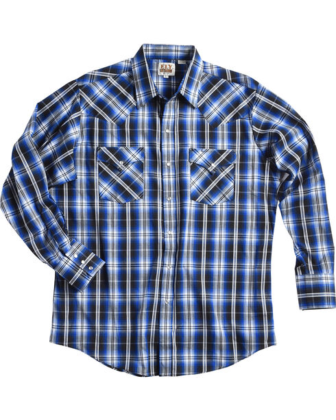 Ely Cattleman Men's Blue Texture Snap Plaid Shirt, Blue, hi-res