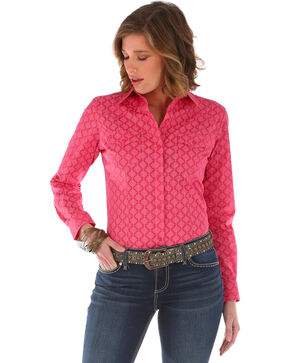 Wrangler Women's Long Sleeve Tonal Print 2 Pocket Shirt, Pink, hi-res